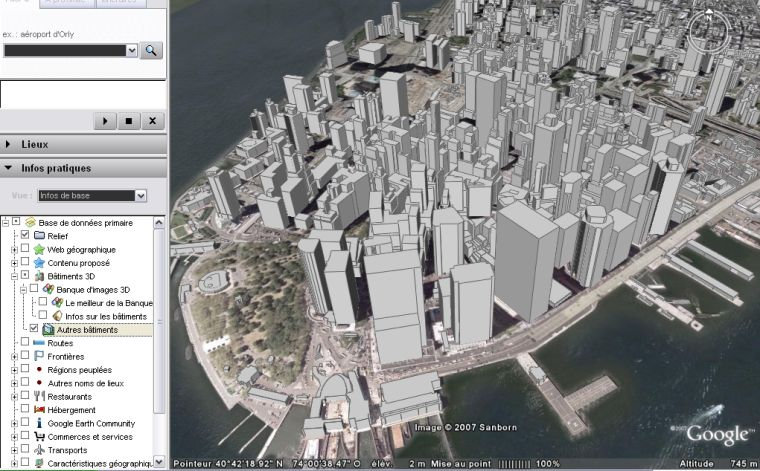 batiments 3D Manhattan google earth
